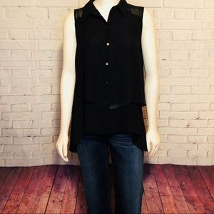 Kenneth Cole Black Hi Low Tank Top M Button Front